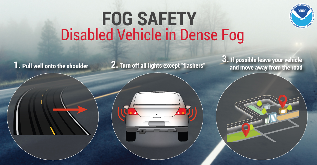 Fog Safety - Disabled Vehicle in Dense Fog: 1. Pull well onto the shoulder. 2. Turn off all lights except 'flashers'. 3. If possible leave your vehicle and move away from the road.