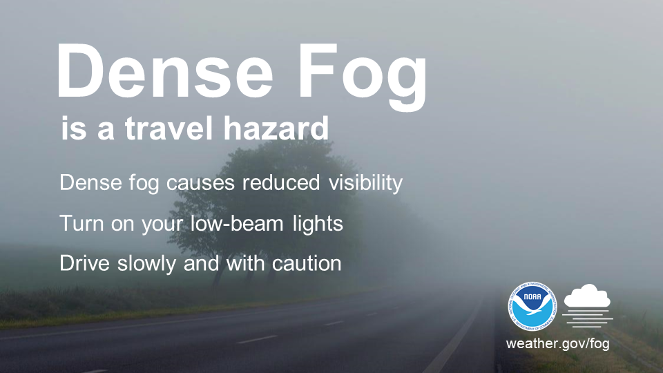 Dense Fog is a travel hazard.  Dense fog causes reduced visibility. Turn on your low-beam lights. Drive slowly and with caution.
