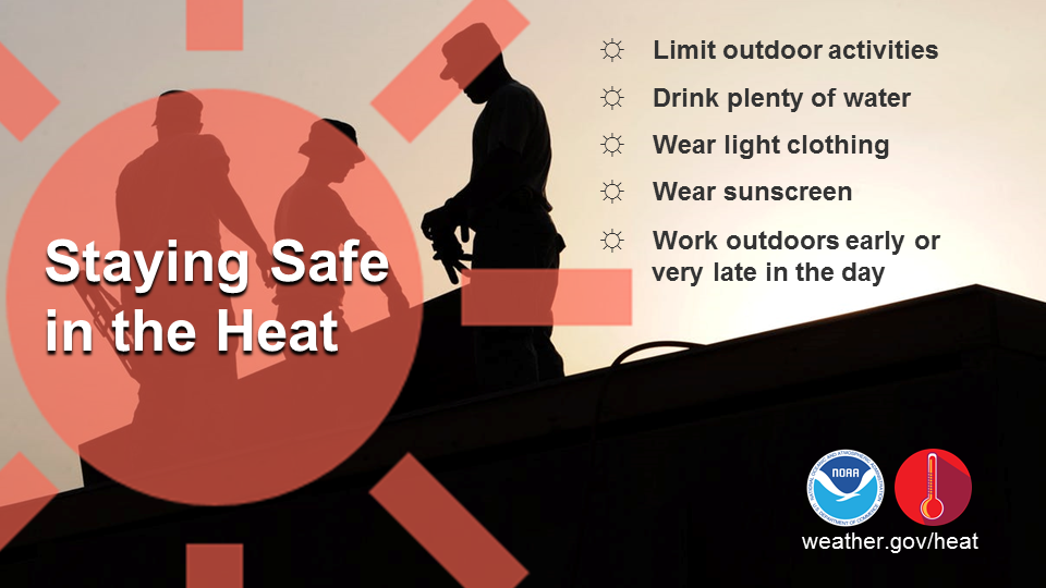Staying Safe in the Heat: Limit outdoor activities. Drink plenty of water. Wear light clothing. Wear sunscreen. Work outdoors early or very late in the day.
