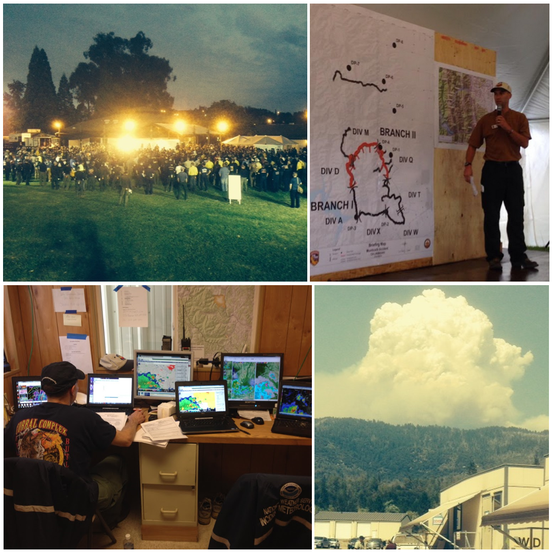Pictured: IMETs at work inside at their desks, and outside near dangerous wildfire situations.