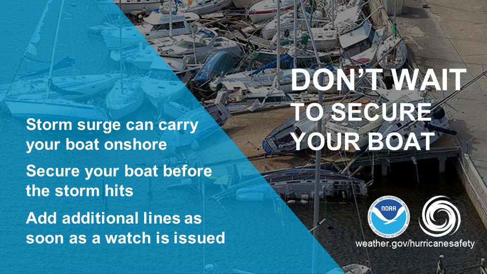 Don't wait to secure your boat.  Storm surge can carry your boat onshore.  Secure your boat before the storm hits.  Add additional lines as soon as a watch is issued.