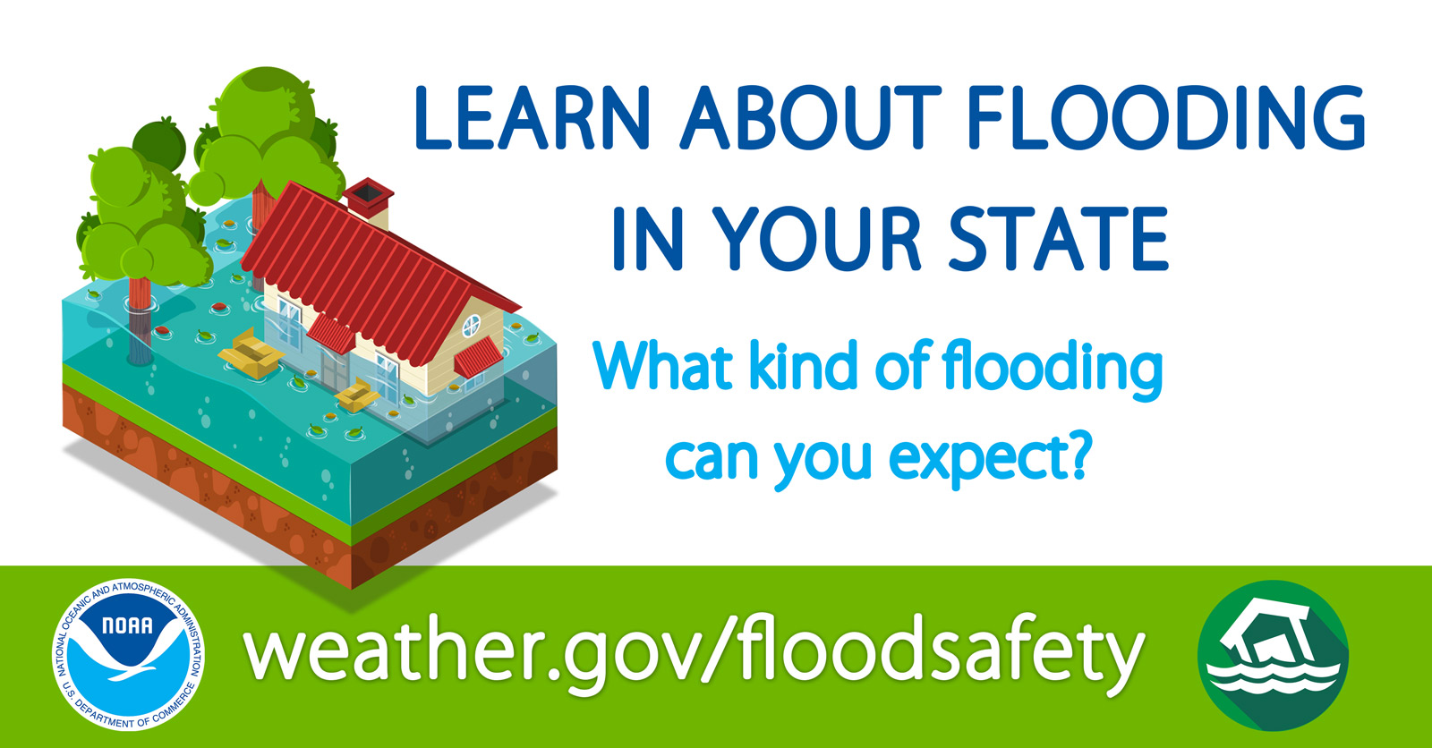 Learn about flooding in your state.  What kind of flooding can you expect?  Find out at weather.gov/safety/floodsafety