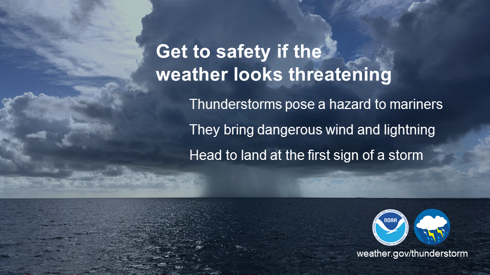 Get to safety if the weather looks threatening. Thunderstorms pose a hazard to mariners. They bring dangerous wind and lightning. Head to land at the first sign of a storm.
