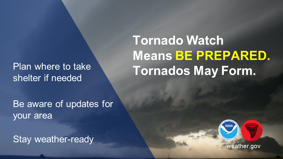 Tornado Watch means be prepared - a tornado is possible. Plan where to take shelter if needed. Have a way to get tornado warnings and updates. Stay weather-ready