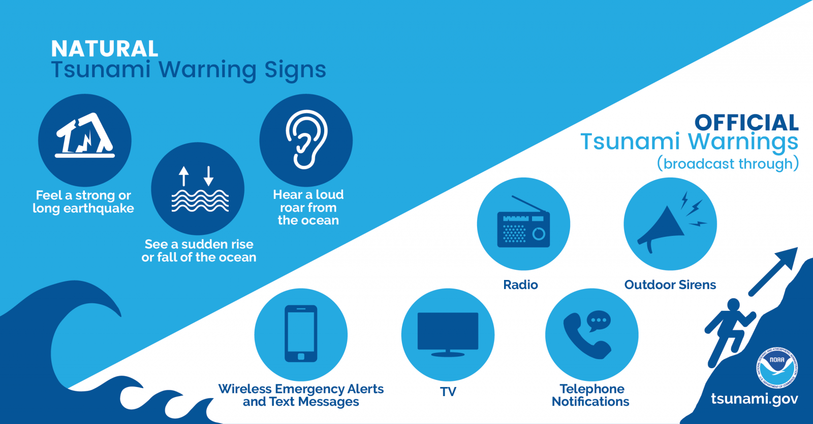 Natural Tsunami Warnings: 1) Feel a strong or long earthquake. 2) See a sudden rise or fall of the ocean. 3) Hear a loud roar from the ocean.  Official Tsunami Warnings (broadcast through): radio, outdoor sirens, Wireless Emergency Alerts, TV, Telephone notifications.