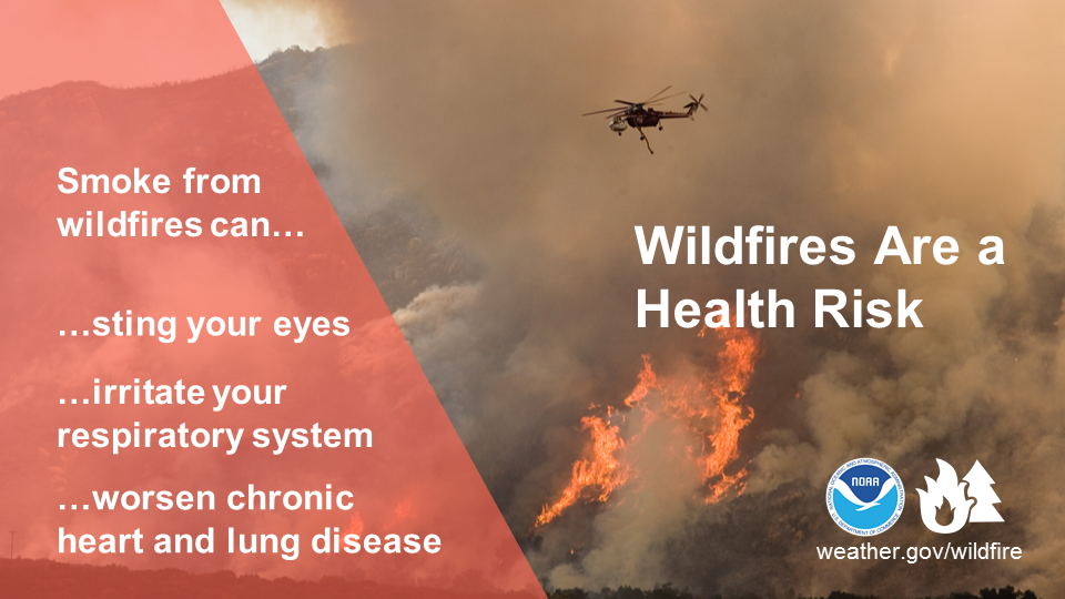 Wildfires are a health risk. Smoke from wildfires can: ...sting your eyes ...irritate your respiratory system ...worsen chronic heart disease