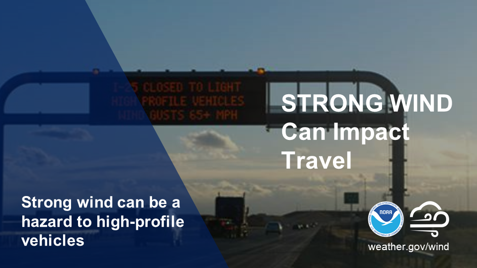 Strong wind can impact travel. Strong wind can be a hazard to high-profile vehicles.