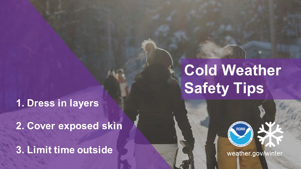 Cold w3eather safety tips: 1) Dress in layers. 2) Cover exposed skin. 3) Limit time outside