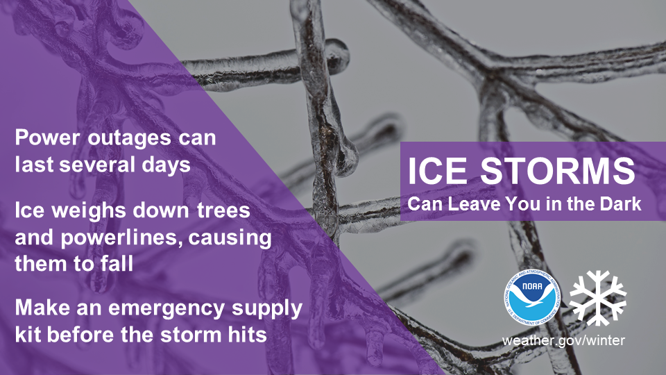 Ice storms can leave you in the dark. Power outages can last several days. Ice weighs down trees and powerlines, causing them to fall. Make an emergency supply kit before the storm hits.