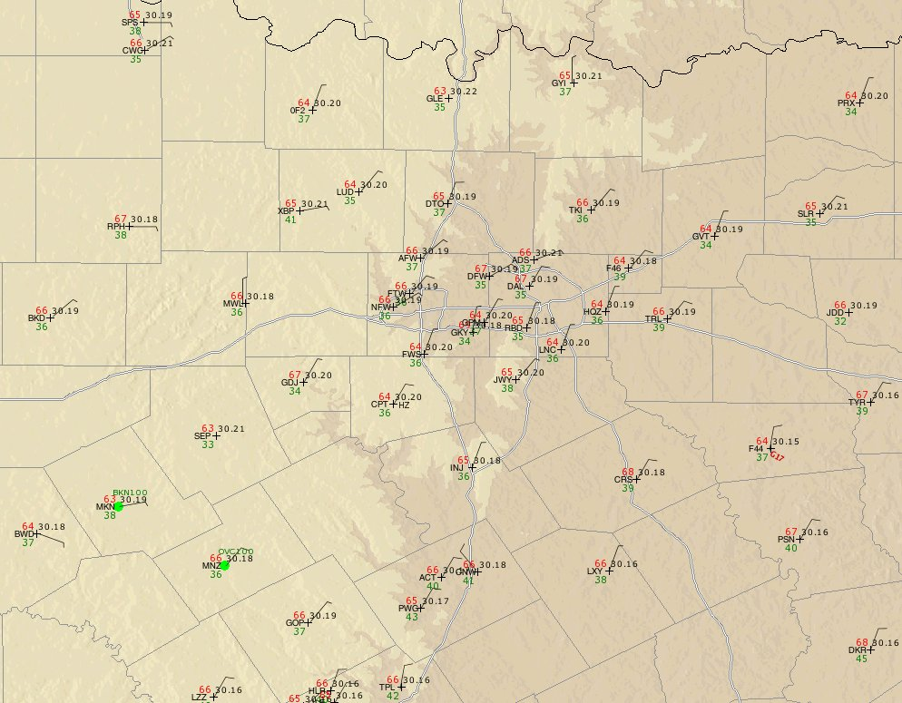 observations vicinity DFW Tracon