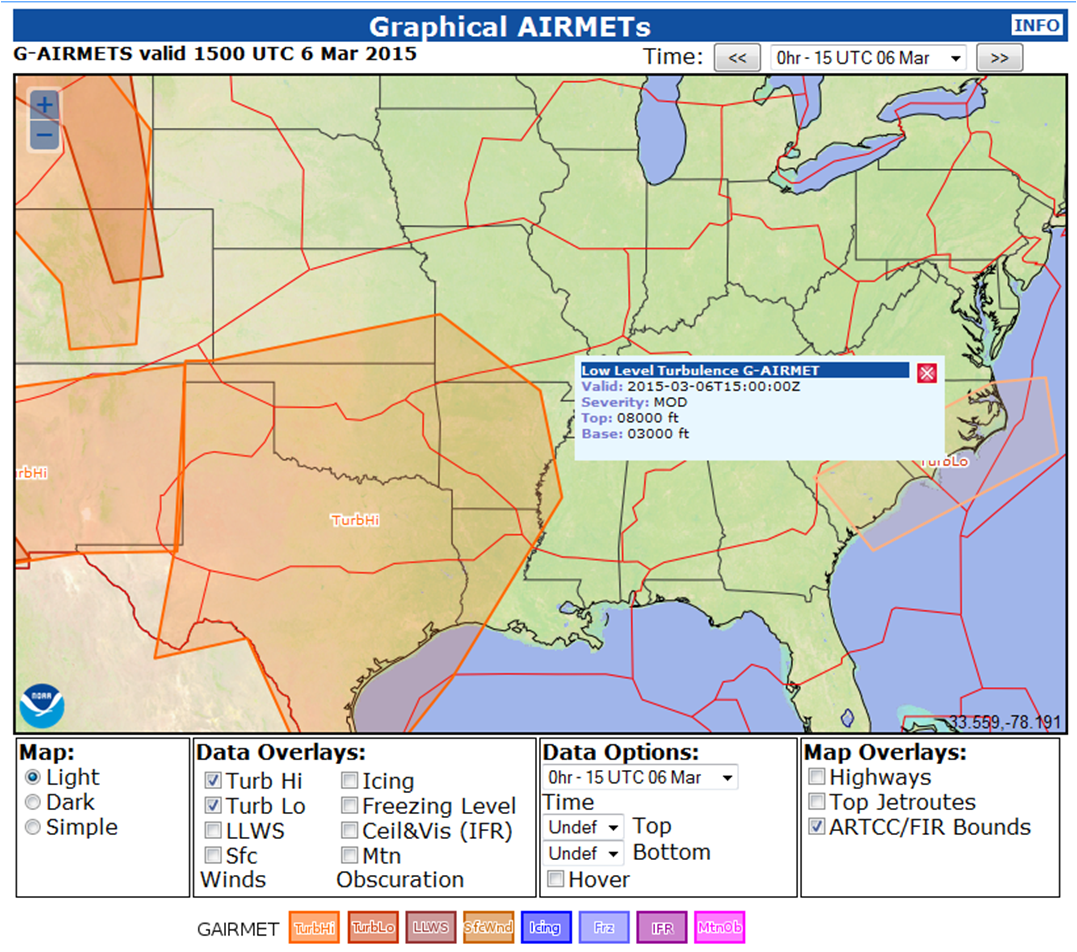 Safetyturb - Us air turbulence map