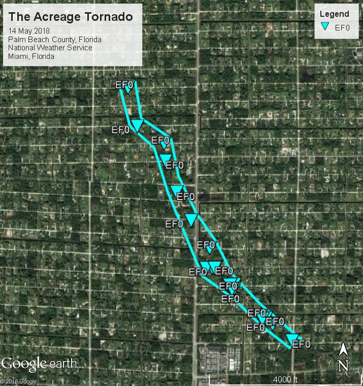 Map of The Acreage Tornado Damage Path