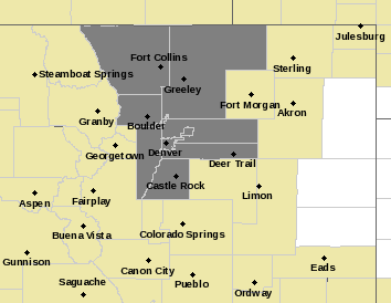 Map of Northeastern Colorado Forecast Area