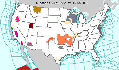 Watches, warnings, advisories and statements issued by the National Weather Service for the lower 48 states.
