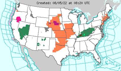 Map of Watches, Warnings, or Adviories across the United States. Click to open
